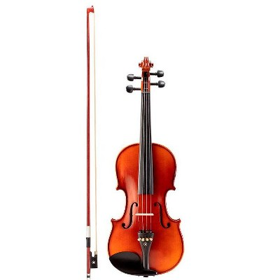 Monoprice 4/4 Flamed Maple Violin with Music Stand, Violin Stand, Case, Bow, and Rosin - Stage Right Sonata