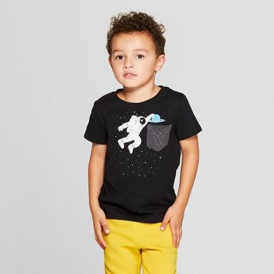 Toddler Boys' Astronaut Space Dunk Short Sleeve T-Shirt - Cat & Jack™ Black 12M
