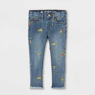 Toddler Girls' Daisy Floral Embroidered Skinny Jeans - Cat & Jack™ Medium Wash