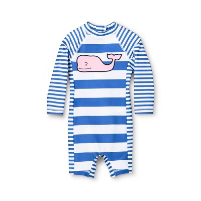 Baby Pink Whale Striped Rashguard - Blue/White 3-6M - vineyard vines® for Target
