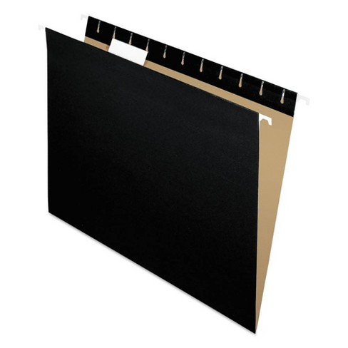 Pendaflex® Hanging File Folders, 1/5 Tab, Letter, Black, 25/Box