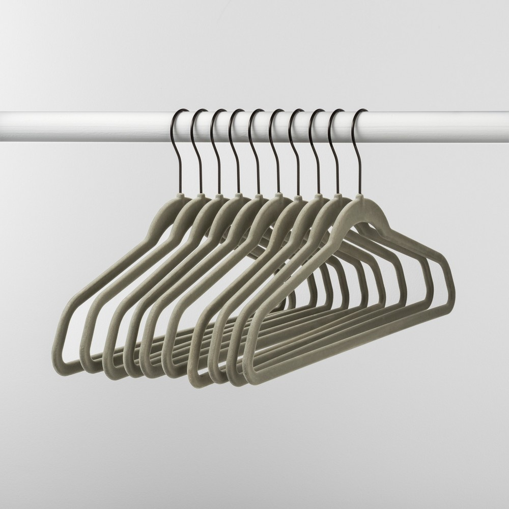 Image of 10pk Non Slip Velvet Hanger Gray - Made By Design