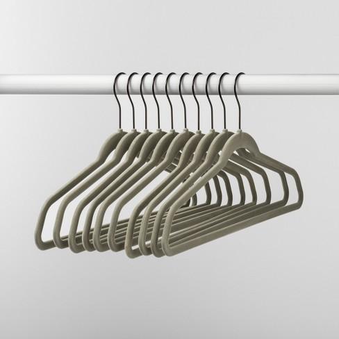 10pk Non Slip Velvet Hanger Gray - Made By Design™ - image 1 of 4
