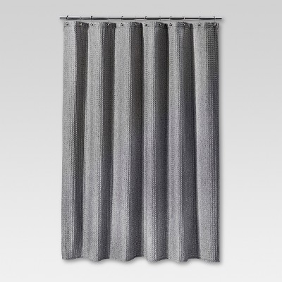 "72""x72"" Waffle Weave Shower Curtain Gray - Threshold™"