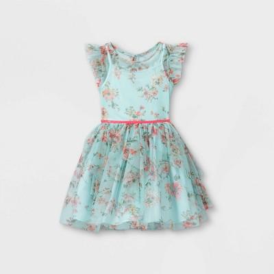 Zenzi Girls' Floral Printed Mesh Dress - Aqua