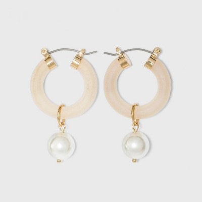 Pearl Pendant Small Open Hoop Earrings - A New Day™ Georgia Peach