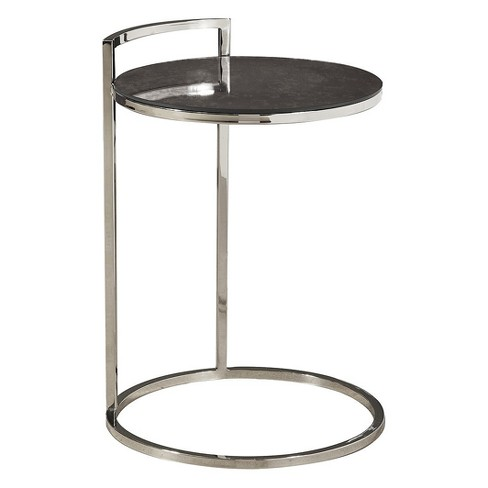 Hale Contemporary Round Stainless Steel And Glass Side Table Silver Pulaski Target