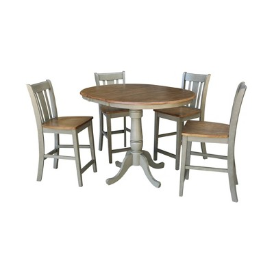 """36"""" Carolyn Round Extension Dining Table with 4 San Remo Stools - International Concepts"""
