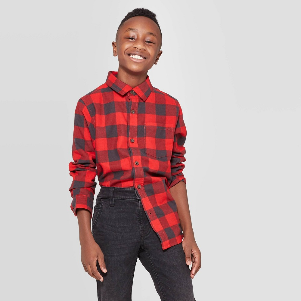 Image of Boys' Check Long Sleeve Button-Down Shirt - Cat & Jack Red/Black L, Boy's, Size: Large