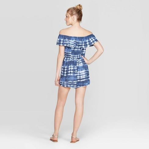 c3fced36e25e1c Women's Short Sleeve Off The Shoulder Flounce Top Tie Dye Romper -  Xhilaration™ Navy : Target