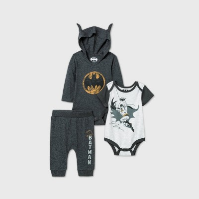 Baby Boys' 3pk Batman Long Sleeve Bodysuit - Black 6-9M
