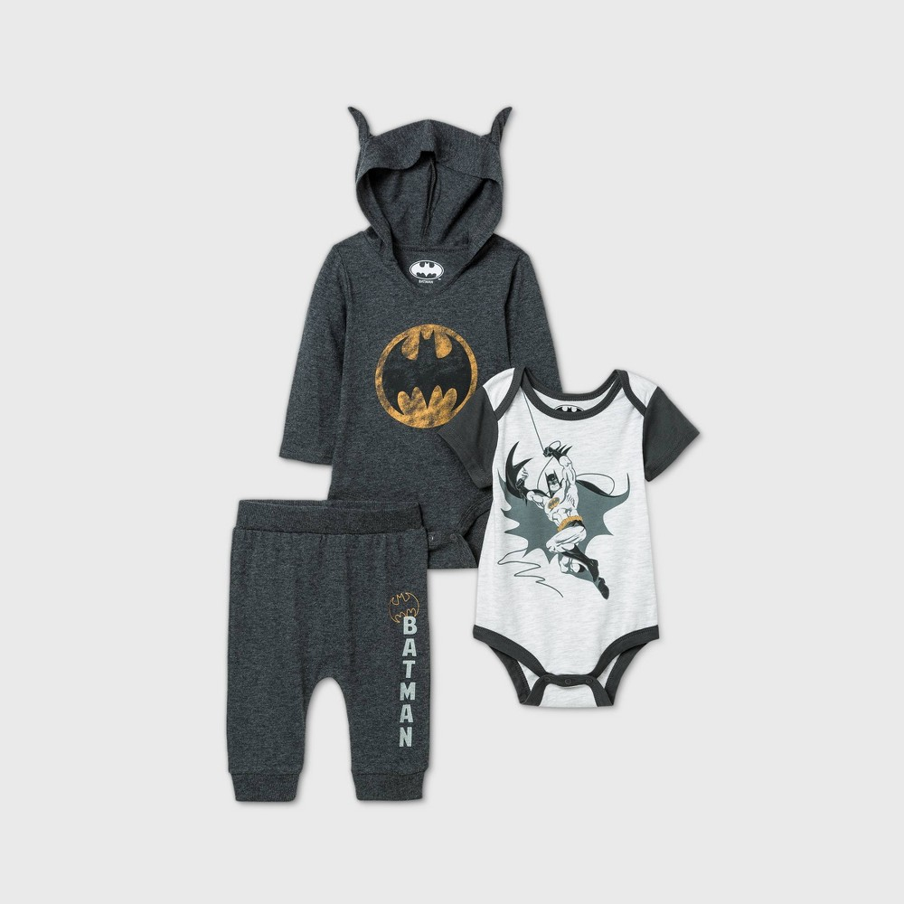 Top Baby Boys' 3pk Batman Long Sleeve Bodysuit -
