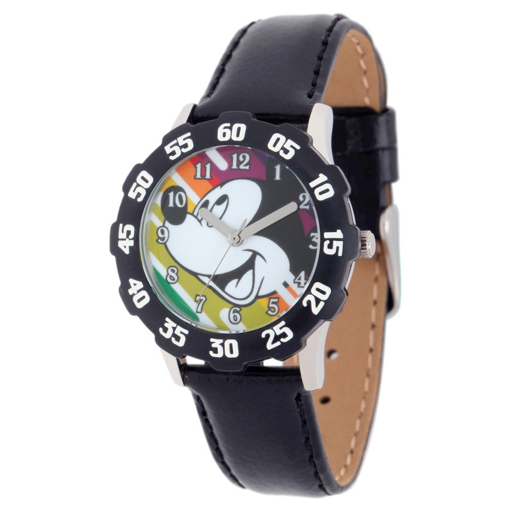 Boys' Disney Mickey Mouse Stainless Steel Case with Bezel Watch - Black