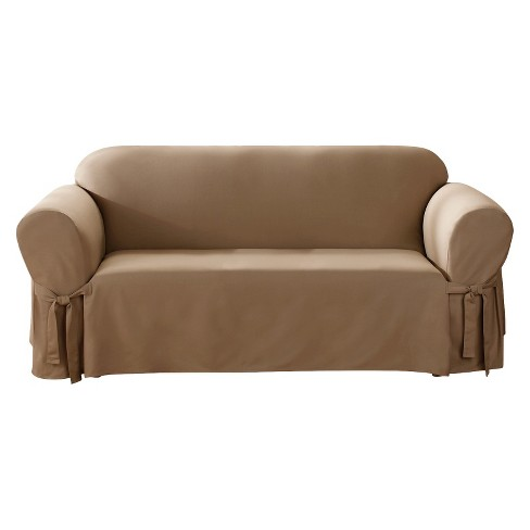 Cocoa Canvas Sofa Slipcover - Sure Fit - image 1 of 3