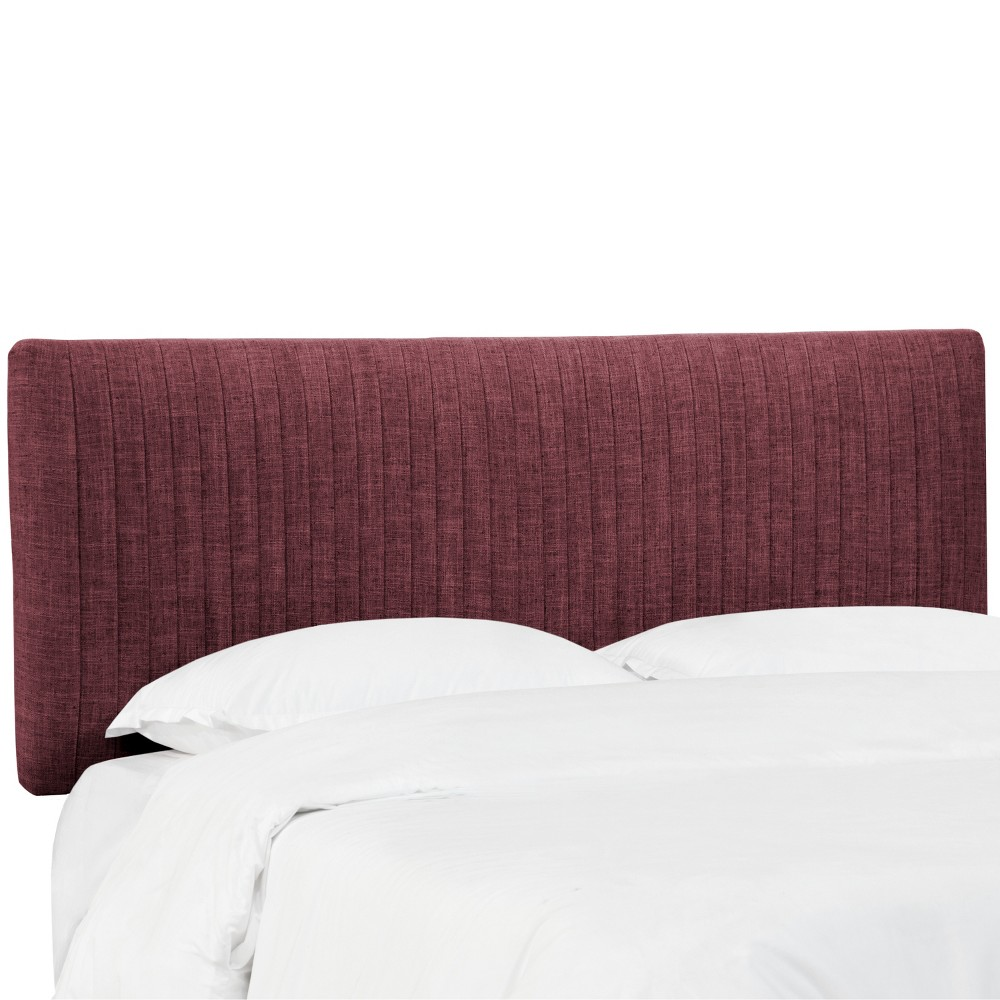 California King Skylar Upholstered Pleated Headboard Wine Linen - Cloth & Co.