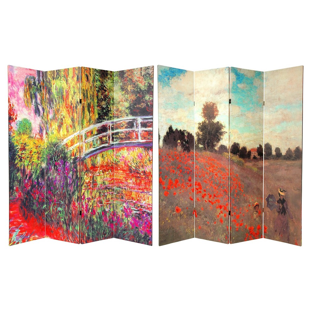 Monet Fine Art Double Sided Room Divider Japanese Bridge and Poppy Field in Argenteu - Oriental Furniture, Multi-Colored