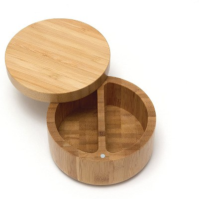 Lipper International Inc. Small Round Divided Wooden Bamboo Food Storage Salt and Pepper Spice Box Container with Swivel Lid Cover
