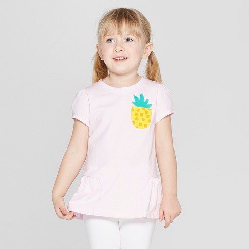 Toddler Girls' Short Sleeve 'Pineapple' T-Shirt - Cat & Jack™ Pink - image 1 of 3