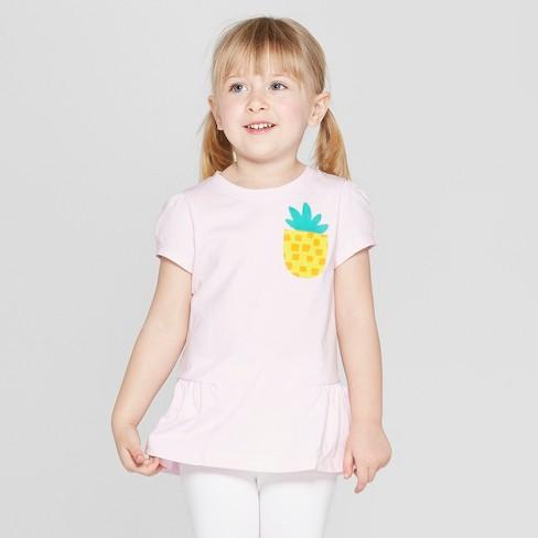 a9e3f771bed Toddler Girls  Short Sleeve  Pineapple  T-Shirt - Cat   Jack™ Pink   Target