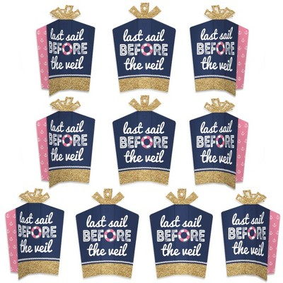Big Dot of Happiness Last Sail Before the Veil - Table Decorations - Nautical Bachelorette and Bridal Shower Fold and Flare Centerpieces - 10 Count