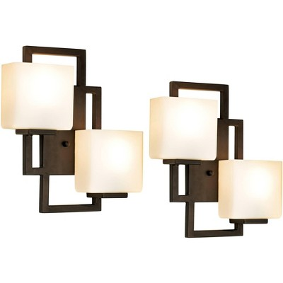 """Possini Euro Design Modern Wall Light Sconces Set of 2 Bronze Hardwired 15 1/2"""" High 2-Light Fixture Square Opal Glass for Bedroom"""