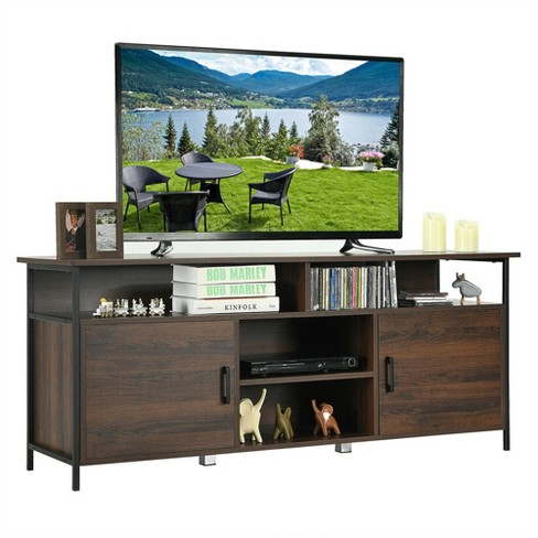 Costway 58 Wood Tv Stand, Tv Stand Media Storage Cabinet
