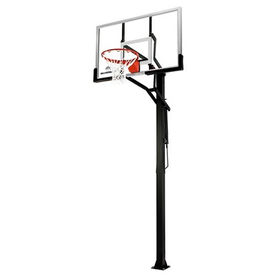 "Silverback B5401W In-Ground 54"" Glass Basketball Hoop System with Anchor Kit"