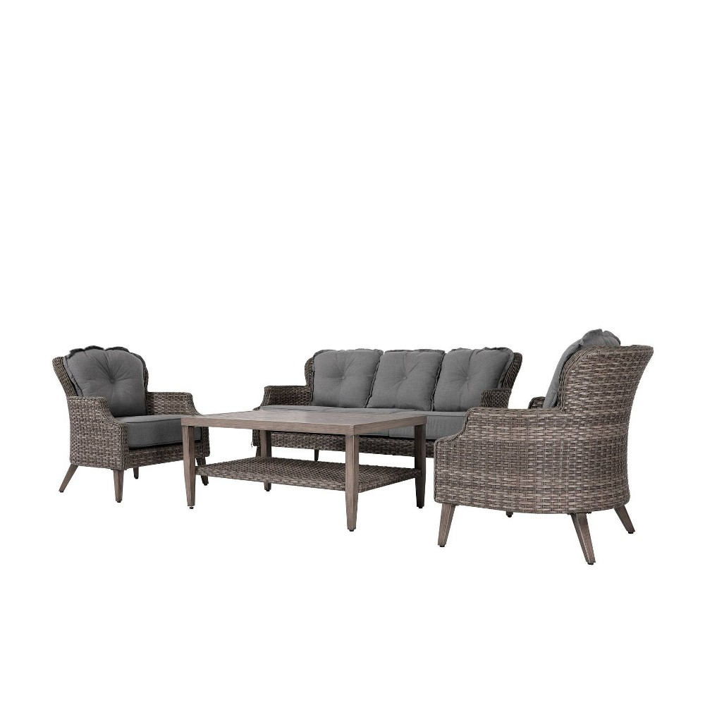 Image of 4pc Wicker Patio Seating Set With Cushions Dark Gray - Nuu Garden