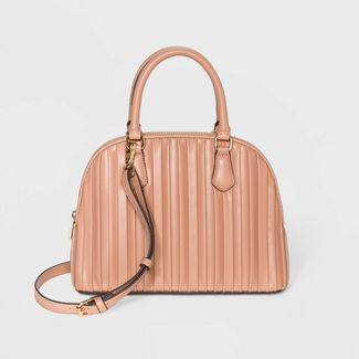 Striped Pleated Small Dome Satchel Handbag - A New Day™ Brown