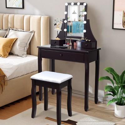 Costway Vanity Table 10 Dimmable Bulbs Makeup Desk WhiteBlackBrown