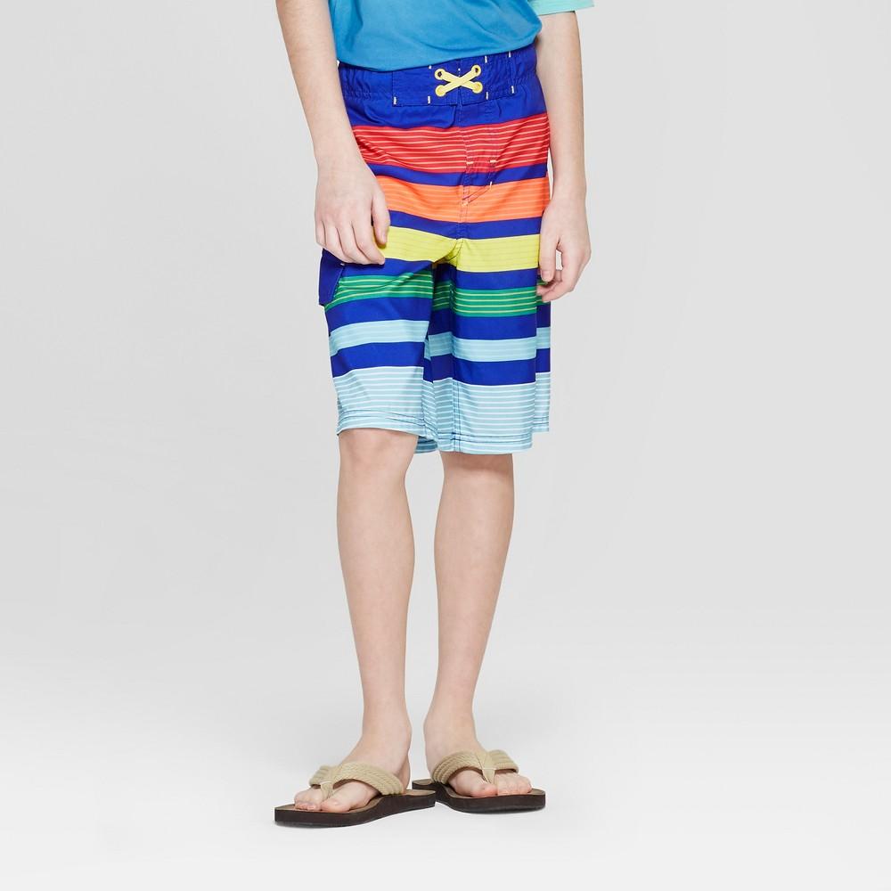 Boys' Rainbow Stripe Swim Trunks - Cat & Jack Blue XS