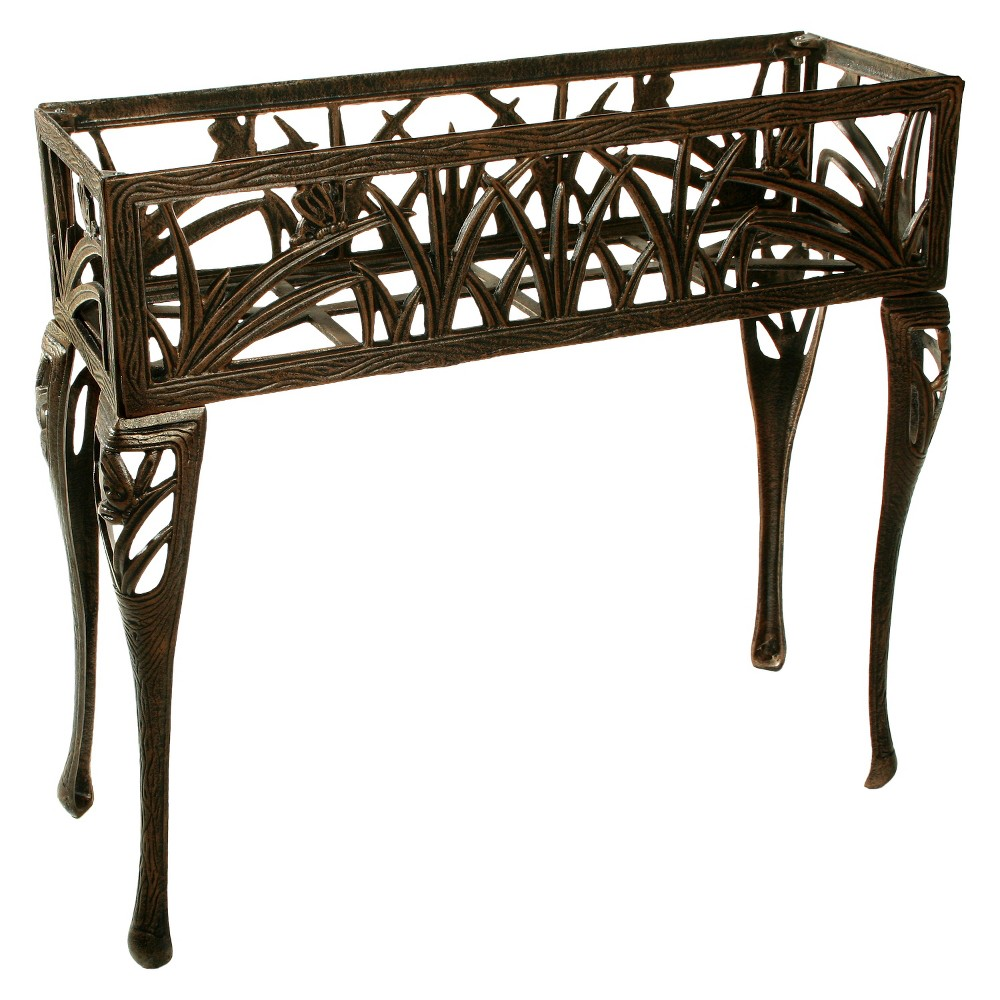 Image of Rectangular Metal Butterfly Plant Stand - Antique Bronze