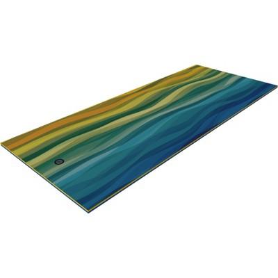 Floatation iQ Floating Oasis 15 x 6 Feet Island Water Pool Lake Lounger Play Pad Mat, Wave