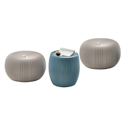Urban Cozy Knit Outdoor Poufs and Table Balcony 3 Pc Set - Taupe/Blue - Keter