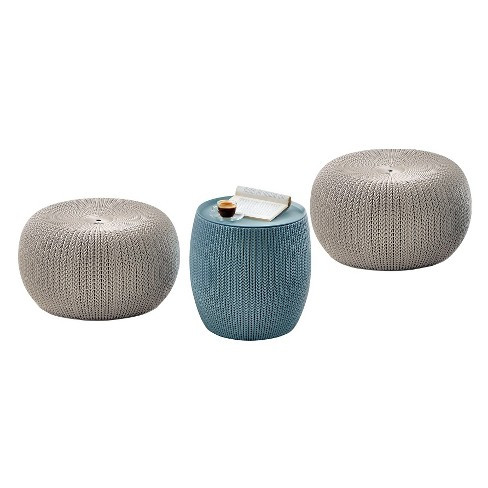Urban Cozy Knit Outdoor Poufs and Table Balcony 3 Pc Set - Taupe/Blue - Keter - image 1 of 12