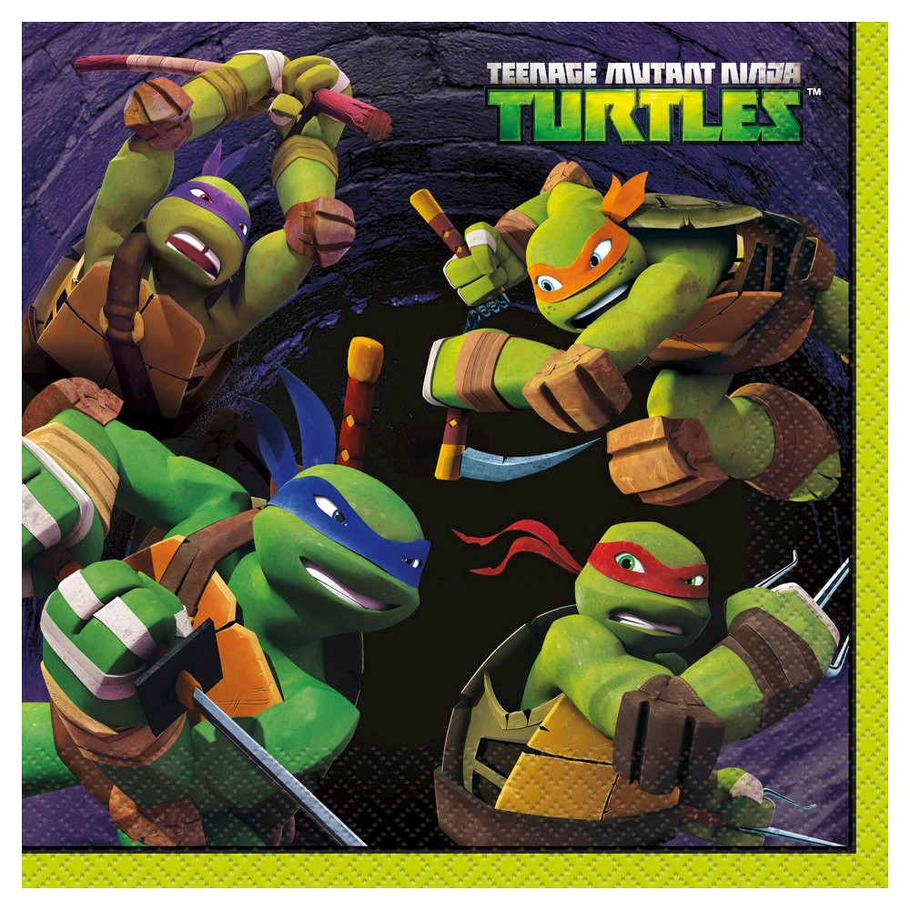 Image of 16ct Teenage Mutant Ninja Turtles TMNT Dinner Napkin