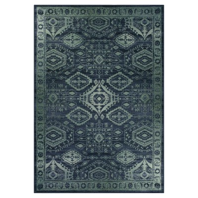 7'X10' Tribal Design Tufted Area Rug Navy - Maples