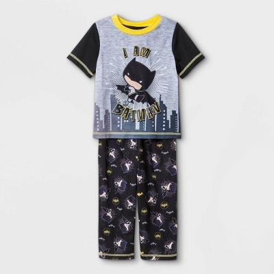 Toddler Boys' 2pc Chibi Batman Pajama Set - Black