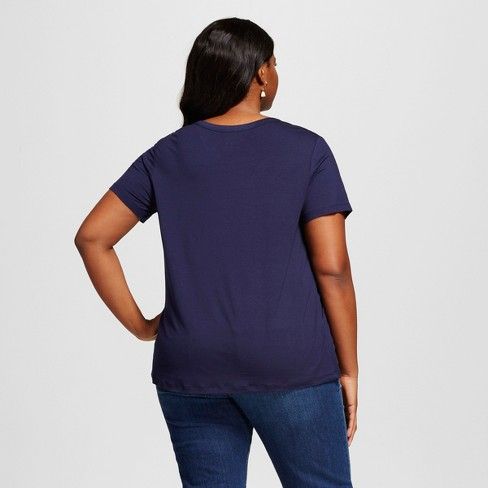 16fa7555dc7 Women s Plus Size Perfect T-Shirt - Ava   Viv™ Navy 1X   Target