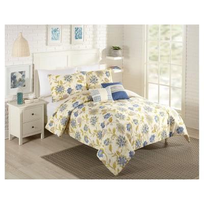 Cream Floral Cotton Santa Cruz Multiple Piece Comforter Set (King)- 5-pc