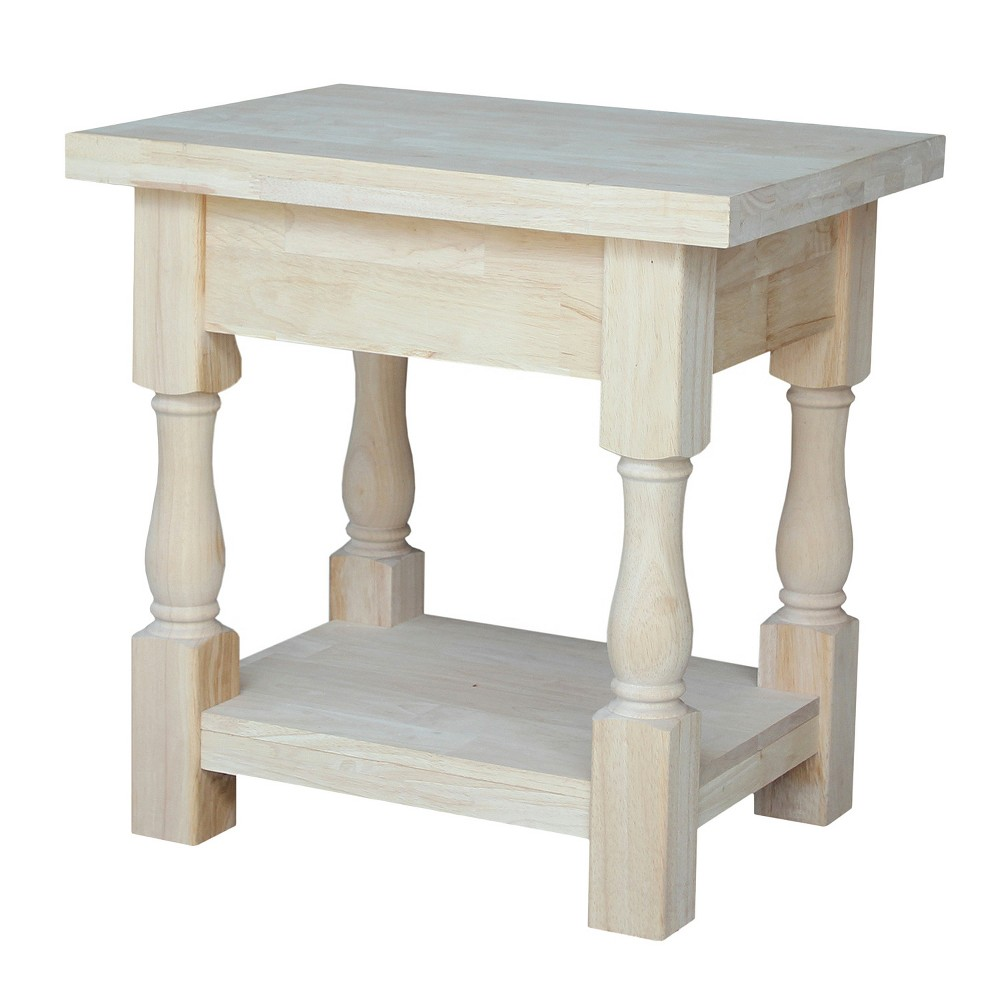 Tuscan End Table - Unfinished - International Concepts, Wood