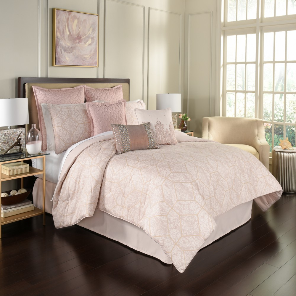 4pc King Geo Montreal Comforter Set Blush - Beautyrest, Pink