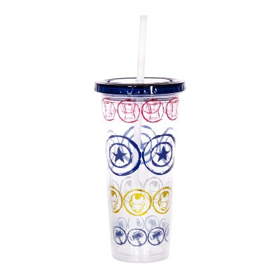 Se7en20 Marvel Icons 16oz Plastic Carnival Cup with Lid and Straw