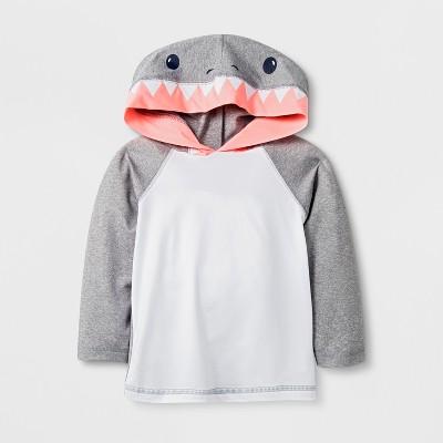 Baby Boys' Long Sleeve Shark Hooded Rash Guard - Cat & Jack™ Gray 9M