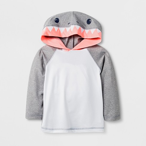 849e8c10 Baby Boys' Long Sleeve Shark Hooded Rash Guard - Cat & Jack™ Gray ...