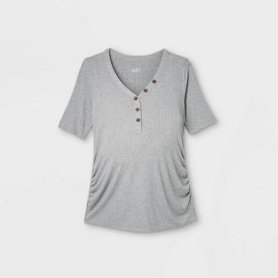 Elbow Sleeve V-Neck Henley Maternity Top - Isabel Maternity by Ingrid & Isabel™
