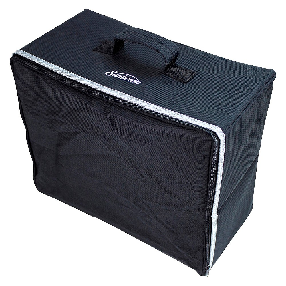 Sunbeam Sewing Machine Cover, Black Folds and opens easy for travel or storage Fits any compact and most domestic size machines Interior Dimensions 16 ½ long by 14 ½ height by 8 inches deep. Color: Black.