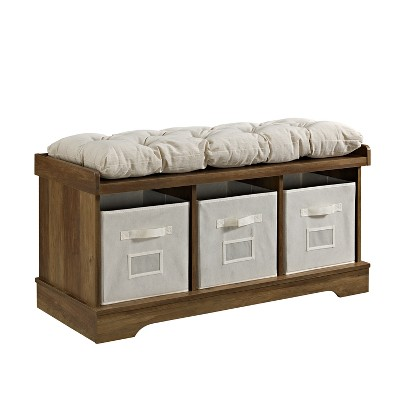 42  Wood Storage Bench with Totes and Cushion Rustic Oak - Saracina Home