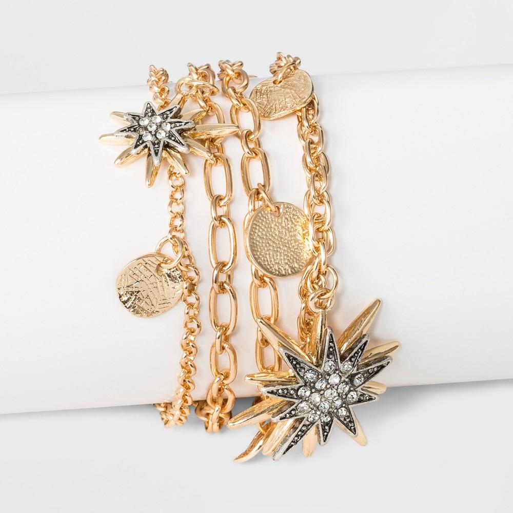 N by nOir Celestial Gold and Crystal Charm Bracelet 7.5 - Light Gold