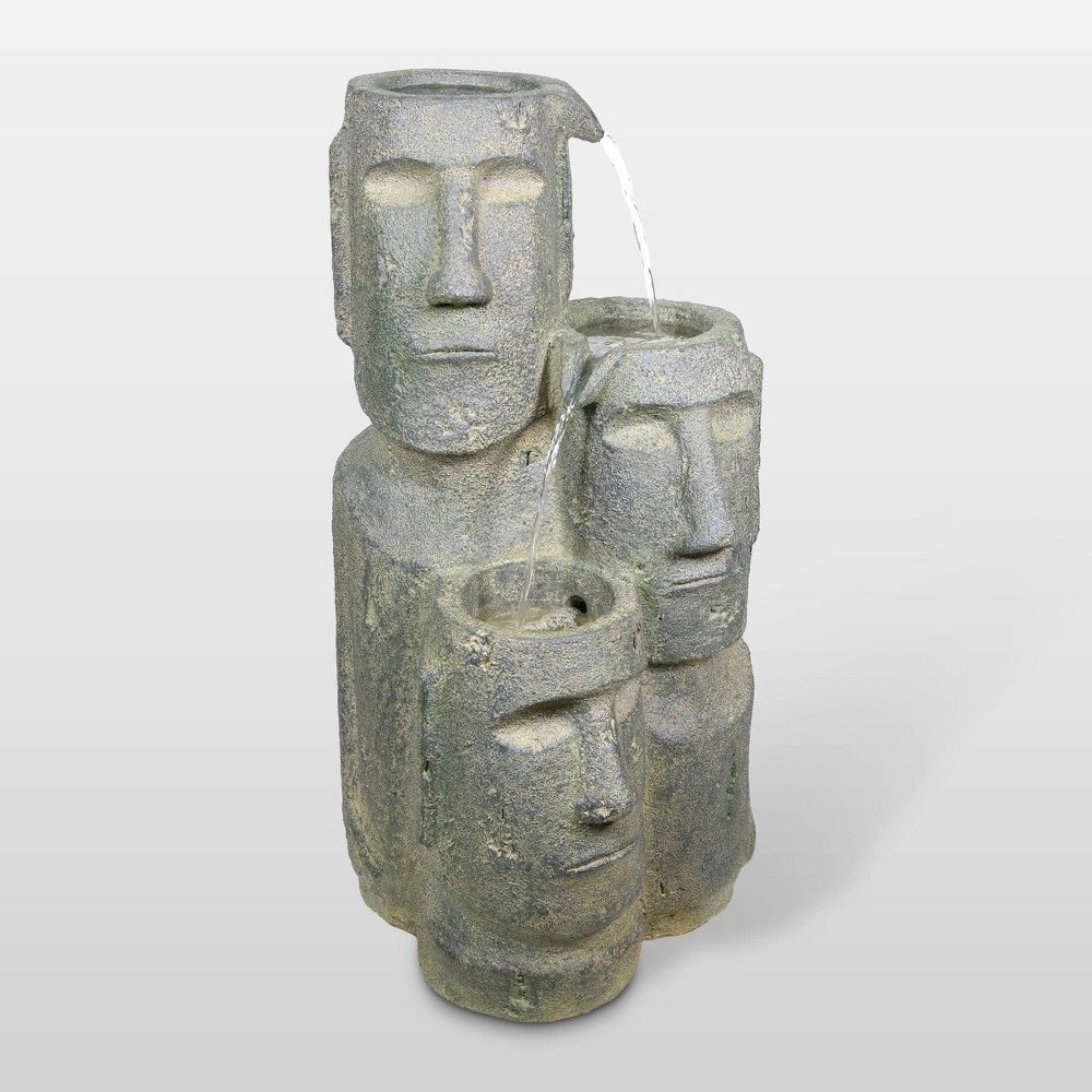"Image of ""28"""" Triple Moai Fountain With 2 LED Lights - Alpine Corporation"""